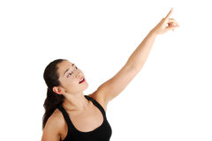 Young beautiful woman pointing up Stock Images