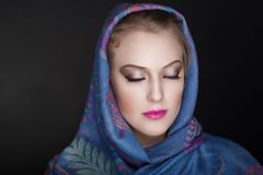 Woman Christian scarf. Young beautiful woman portrait. Christian religious scarf accessory Stock Photos