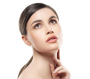 Young beautiful woman portrait with healthy skin isolated on white Stock Photo
