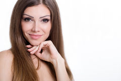 Young beautiful woman portrait, isolated over white background Stock Images