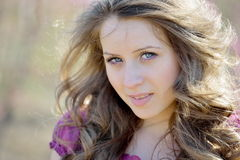 Young beautiful woman portrait outdoor Stock Photos