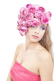 Young beautiful woman portrait with pink flowers Royalty Free Stock Image
