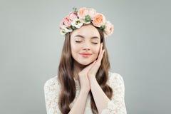 Young Beautiful Woman Portrait. Pretty  Model Girl Wearing Flowers Wreath.  stock image