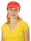 Young beautiful woman portrait with red cap Stock Images