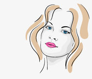 Young beautiful woman portrait. Sketch Stock Photo