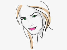 Young beautiful woman portrait sketch Stock Image