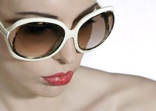 Young beautiful woman portrait with sunglasses Stock Images