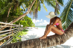 Young beautiful woman posing on the beach Stock Photos