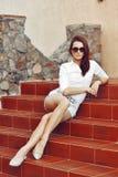 Young beautiful woman posing outdoor Stock Photos