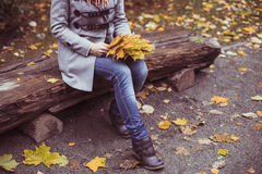 Young beautiful woman posing outside at fall time Stock Photos