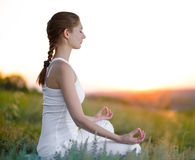 Young Beautiful Woman Practices Yoga on the Sunny Meadow Royalty Free Stock Photo