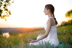 Young Beautiful Woman Practices Yoga on the Sunny Meadow Royalty Free Stock Image