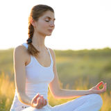 Young Beautiful Woman Practices Yoga on the Sunny Meadow Royalty Free Stock Photography