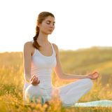 Young Beautiful Woman Practices Yoga on the Sunny Meadow Stock Photos