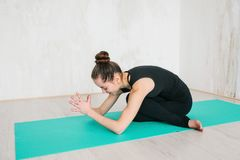 Young beautiful woman practicing yoga and gymnastic. Wellness concept. Classes in single sports. Caring for your body stock images