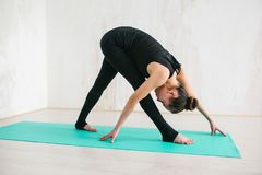 Young beautiful woman practicing yoga and gymnastic. Wellness concept. Classes in single sports. Caring for your body stock photos