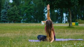 Young beautiful woman practicing yoga outdoor. Wellness concept. Calmness and relax, woman happiness. Young woman practicing yoga outdoor. Wellness concept stock footage