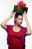 Young beautiful woman with present Stock Photos