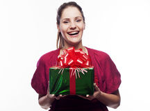 Young beautiful woman with present Stock Images