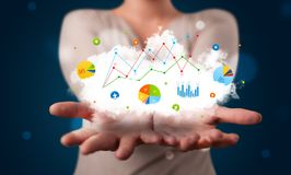 Young woman presenting cloud with charts and graph icons and sym. Young beautiful woman presenting cloud with charts and graph icons and symbols Stock Photo