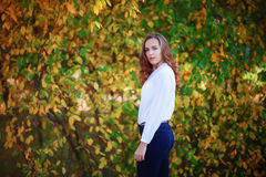 Young beautiful woman. Pretty girl in bright autumn park Stock Photos