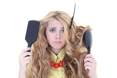 Young beautiful woman with problem hair Royalty Free Stock Photos
