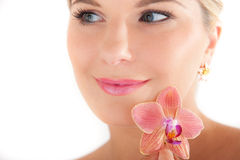 Young beautiful woman with pure healthy skin Royalty Free Stock Images