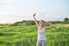 Young beautiful woman raised arms enjoying the fresh air in gree. N meadows Royalty Free Stock Image