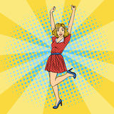 Young Beautiful Woman with Raised Hands Up. Pop Art Stock Image