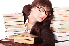 Young beautiful woman read book. royalty free stock photos