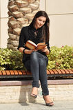 Young beautiful woman reading a book royalty free stock photo