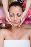 Young beautiful woman receiving facial massage Stock Photo