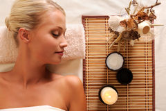Young beautiful woman recreation in spa salon stock photography