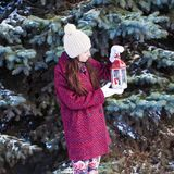Young beautiful woman with red Christmas lantern Stock Photography