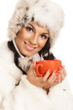 Young and beautiful woman with a red cup Royalty Free Stock Photos