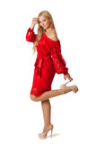 Young beautiful woman in red dress. royalty free stock photography