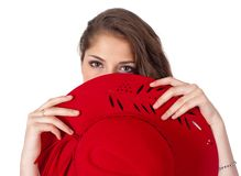Young beautiful woman with red hat Royalty Free Stock Image