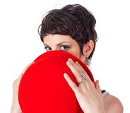 Young beautiful woman with red hat Royalty Free Stock Images