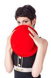 Young beautiful woman with red hat Stock Photography