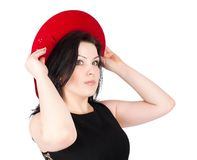 Young beautiful woman with red hat Stock Photo