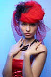 Young beautiful woman in red hat Royalty Free Stock Photo