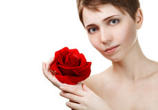 Young beautiful woman with red rose Royalty Free Stock Photos