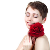 Young beautiful woman with red rose Royalty Free Stock Images