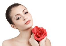 Young beautiful woman with red rose Royalty Free Stock Photography