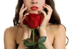 Young beautiful woman with red rose. Portrait of young beautiful woman with red rose Stock Images