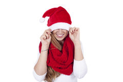 Young beautiful woman red scarf  christmas hat Royalty Free Stock Image