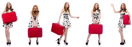 The young beautiful woman with red suitcase stock photography