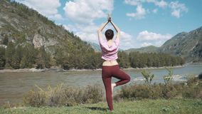 Young beautiful woman in red tank top practicing outdoors, doing Bending Tree posture, variation of Vrksasana, in park stock video footage