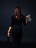 Young beautiful woman with red wine Royalty Free Stock Photography
