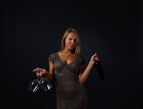 Young beautiful woman with red wine Royalty Free Stock Photos
